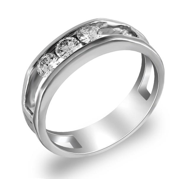 แหวนแถว เพชรฝังสอด 3 เม็ด